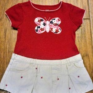 Girls sz 3T one piece red butterfly 👗 dress